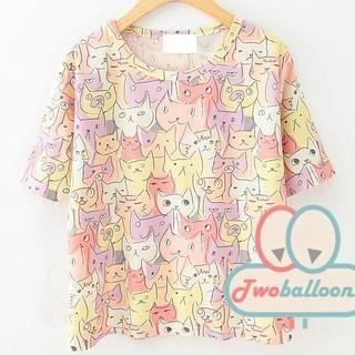 JVL - Short-Sleeve Cat-Print T-Shirt