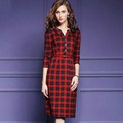 lilygirl - Plaid Split-Neck Dress