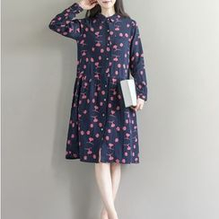 Clover Dream - Long-Sleeve Printed Shirt Dress