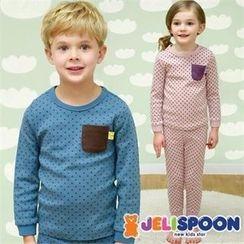 JELISPOON - Kids Pajama Set: Polka-Dot Top + Pants