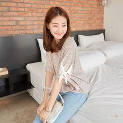 OrangeBear - Bow Sleeve Melange T-Shirt
