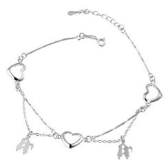 Kitty Kiss - 925 Sterling Silver Heart Bracelet