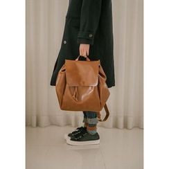 GOROKE - Faux-Leather Flap Backpack