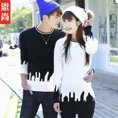 Igsoo - Couple Matching Contrast Printed Knit Top