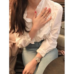 maybe-baby - Open-Placket Frilled-Trim Blouse