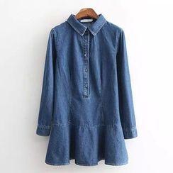 Blue Rose - Ruffle Long-Sleeve Denim Dress