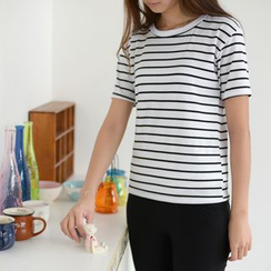 QZ Lady - Short-Sleeved Striped T-Shirt