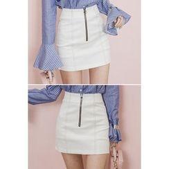 migunstyle - Zip-Detail Stitched Skirt