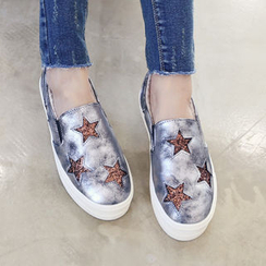 DANI LOVE - Star-Glittered Fleece-Lined Platform Slip-Ons
