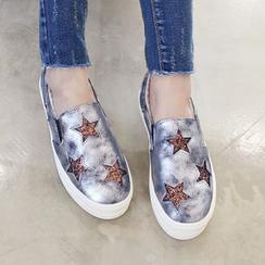 DANI LOVE - Star-Glittered Fleece-Lined Platform Slip-Ons