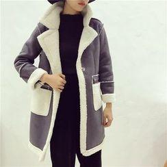 Octavia - Faux Suede Fleece Lined Coat