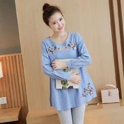 Mamaladies - Embroidery Denim Maternity Tunic