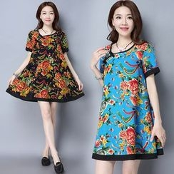 Diosa - Floral Print Short-Sleeve Dress