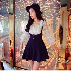 ANGELA - Set: Lace Trim Blouse + Jumper Dress