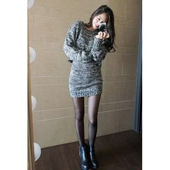 OZNARA - Set: Mélange Cropped Knit Top + Band-Waist Skirt