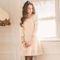 Tokyo Fashion - Long-Sleeve Beaded Textured Dress