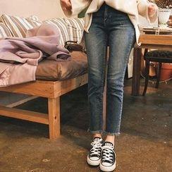 mimi&didi - Fringe-Hem Straight-Cut Jeans
