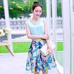 Romantica - Set: Sleeveless Plain Top + Printed Midi Skirt