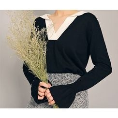 HOTPING - Open-Placket Contrast-Trim Knit Top