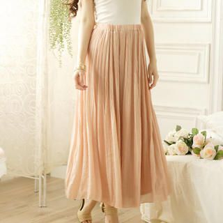 Tokyo Fashion - Elastic-Waist Pleated Maxi Skirt