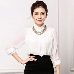 Aision - Shirred Chiffon Blouse