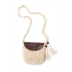 GOROKE - Tasseled Woven Shoulder Bag