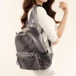 Axixi - Faux-Leather Woven Backpack