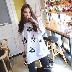 REDOPIN - Star Print 3/4-Sleeve T-Shirt