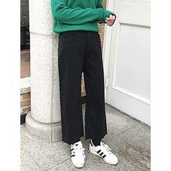 FROMBEGINNING - Fleece-Lined Straight-Cut Pants
