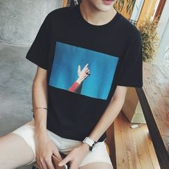 JUN.LEE - Printed Short-Sleeve T-shirt