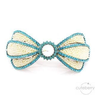 Cuteberry - Rhinestone Beaded Bow Barrette
