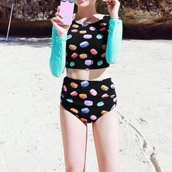 LANYI - Set: Macaron Print Cropped Rashguard + Bikini Bottom