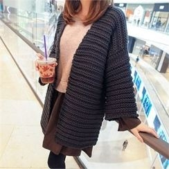 Styleberry - Open-Front Chunky-Knit Long Cardigan