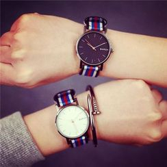 InShop Watches - Couple Striped-Strap Watch