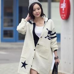 REDOPIN - V-Neck Patterned Long Cardigan