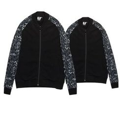 HappyTee - Printed Sleeve Couple Zip Jacket