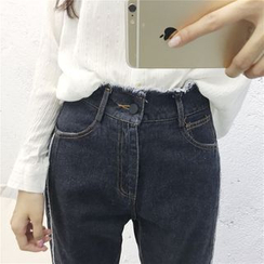 Tiny Times - 配色邊直筒牛仔褲