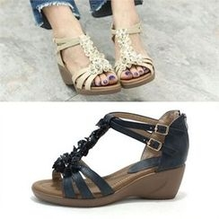 MODELSIS - Floral Wedge-Heel Sandals