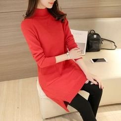 Shomez - Long-Sleeve Plain Knit Dress