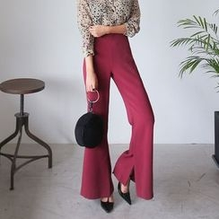 PPGIRL - Slit-Side Boot-Cut Pants
