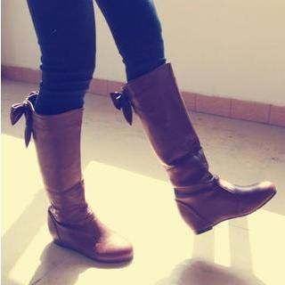 TBR - Bow-Accent Cutout Tall Boots
