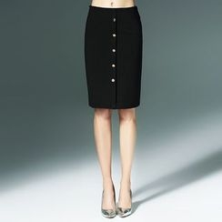 Bantynan - Buttoned Pencil Skirt
