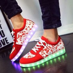 Yoflap - Splattered Panel Sneakers with LED Sole