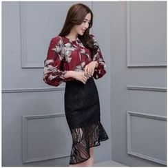 MayFair - Set: Floral Blouse + Lace Pencil Skirt