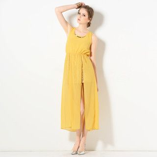 YesStyle Z - Sleeveless Sequined Underlay Slit Cocktail Maxi Dress