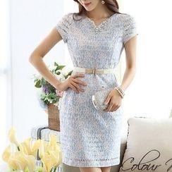 Dowisi - Short Sleeve Split Neck Rhinestone Lace Dress