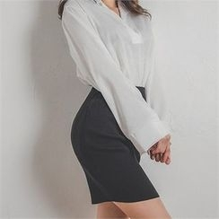 ERANZI - Wool Blend Rib-Knit Mini Pencil Skirt
