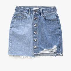 icecream12 - Distressed-Hem Denim Mini Skirt