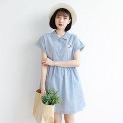 Forest Girl - Short-Sleeve Tie Waist Dress