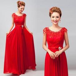 Royal Style - Sleeveless Rhinestone Lace A-Line Evening Gown